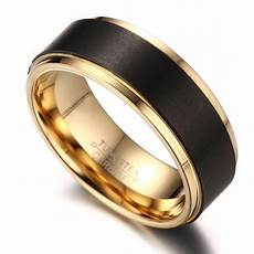 8mm mens black tungsten wedding band ring 18k gold plated with matte domed brushed and polished