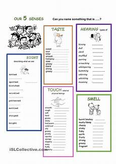 five senses worksheets esl 12645 our 5 senses my five senses adjective words adjectives