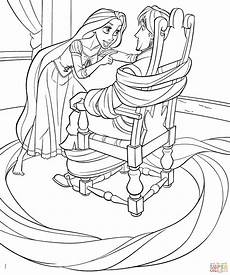 rapunzel ties up flynn coloring page free printable