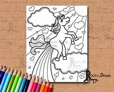 instant download coloring page farting rainbow unicorn