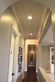 the hallway paint color is the same one i used upstairs benjamin moore s ozark shadows but