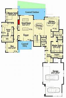 house plans with 2 master suites modern house plan with 2 master suites 54223hu