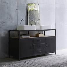 meuble sous vasque salle de bain meuble sous vasque en mtal noir et manguier pour salle de