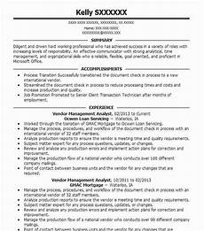 vendor management analyst resume sle livecareer