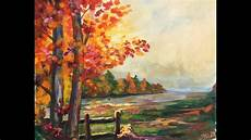 beginner learn to paint a landscape full acrylic for fall autumn youtube