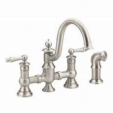 kitchen bridge faucets moen waterhill 2 handle high arc side sprayer bridge kitchen faucet in spot resist stainless