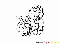 gratis ausmalbild katze und baby