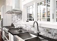 Backsplash For Black And White Kitchen White Gray Subway Marble Backsplash Tile