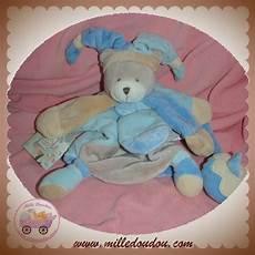 sos doudou et compagnie ours marionnette bleu poudre dc2385