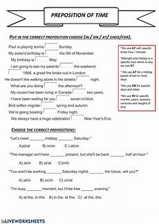 preposition of time worksheets for grade 3 3491 preposition of time interactive worksheet