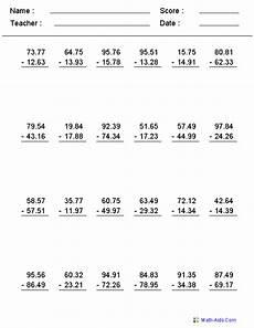 decimals worksheets math 7207 decimals worksheets dynamically created decimal worksheets