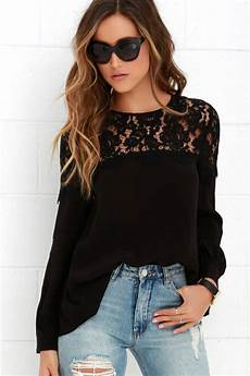 best black lace top black blouse sleeve top black top