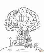 Kolorowanka Misiowankowy Domek Na Drzewie  Kolorowanki