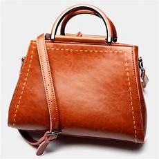 elegante damen umh 228 ngetasche mit griff handtasche leder braun