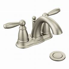 moen kitchen faucets brushed nickel standard plumbing supply product moen brantford 6610bn brushed nickel two handle bathroom faucet
