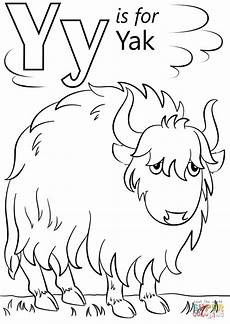letter y is for yak coloring alphabet coloring pages