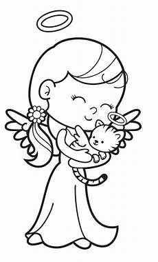 Malvorlage Engel Einfach Kostenlose Malvorlage Engel Engel Mit Engel Katze Zum