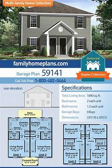 multi family house plans duplex traditional style multi family plan 59141 with 4 bed 4