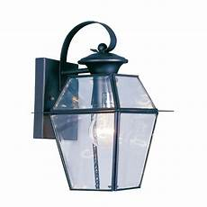 livex lighting 1 light black outdoor wall lantern with clear beveled glass 2181 04 the home depot