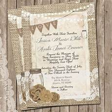 country wedding invitations rustic wedding invitation burlap and lace wedding invitation