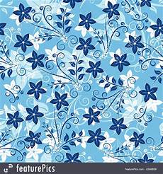Abstract Patterns Blue Floral Background Stock