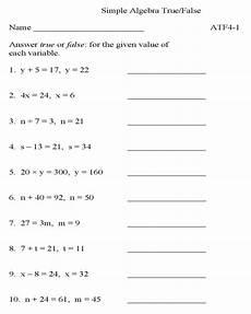 bluebonkers algebra true false p1 free printable simple algebra practice worksheets