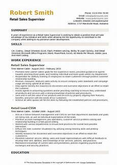 resume objective for sales supervisor retail sales supervisor resume sles qwikresume