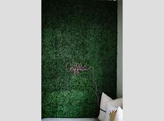 Artificial Boxwood Accent Wall and DIY Neon Sign   Plant