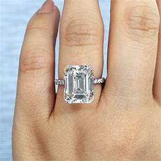 5ct emerald cut solitaire in platinum with diamond band engagement rings in 2019 engagement