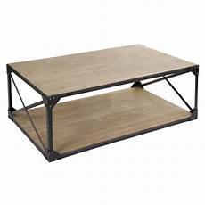 table basse rectangulaire en acier et bois style