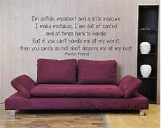 wall sticker decal quotes marilyn quote wall sticker i m selfish quote
