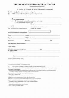 documents vente de véhicule certificat de vente publique d un v 233 hicule doc pdf