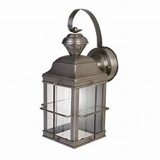 heath zenith 1 light brushed nickel motion activated outdoor wall lantern hz 4144 nb the