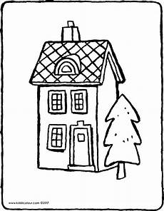 Ausmalbilder Haus Mit Schnee Ein Haus Mit Einem Baum Kiddimalseite