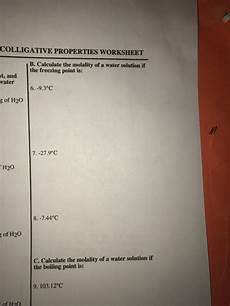 solved colligative properties worksheet b calculate the chegg com