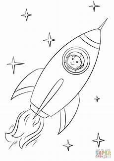 ausmalbild rakete astronaut zeichnen und f 228 rben