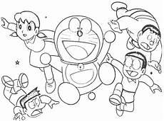 gambar mewarnai kartun doraemon dan teman teman kreasi warna