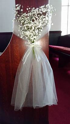 wedding pew marker with tulle and baby s breath my