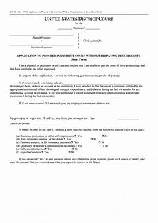 fillable form ao 240 application to proceed in district court without prepaying fees or costs