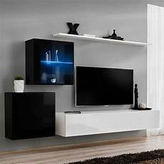 meuble tv mural design quot switch xv quot 250cm blanc noir