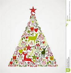 merry christmas tree shape full of elements compos stock vector illustration of fabric vector