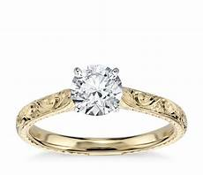 engraved solitaire engagement ring in 18k yellow gold blue nile