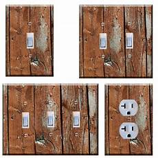 light switch plate cover wall home decor rustic image of brown planks ebay