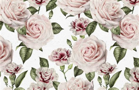 Vintage Roses And Carnation Wallpaper