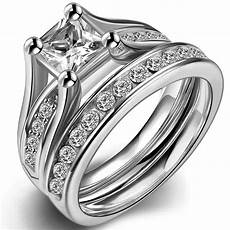 sz 4 12 wedding engagement ring princess cut stainless steel anniversary ebay
