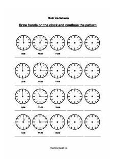 telling time worksheets later and earlier continue pattern planet psyd