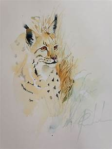 Aquarell Malvorlagen Tiere Watercolor Painting Animal Original Wildlife Animal