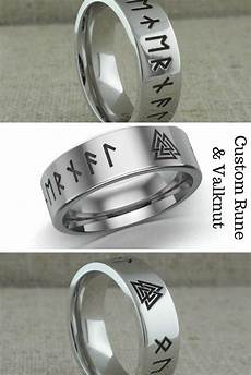 great looking custom celtic wedding ring made of cobalt chrome with laser carved custom rune