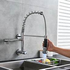wall mount single handle kitchen faucet commercial wall mount kitchen sink faucet chrome single handle pull swivel ebay