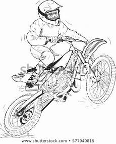 Malvorlagen Rider Black Silhouette Motocross Rider Jump Flag Stock Vector